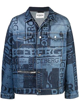 Iceberg logo print denim jacket - Blue