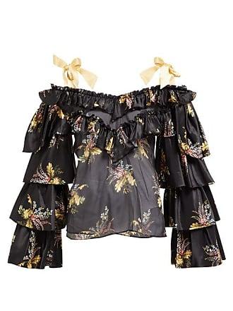 54de65a9e40319 Rodarte Ruffled Floral Print Silk Blend Blouse - Womens - Black Multi