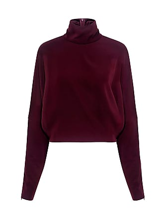 McQ by Alexander McQueen New Crepe Turtleneck Cropped Top Plum