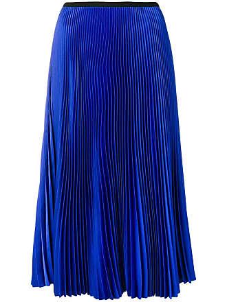 Blanca Saia midi plissada - Azul