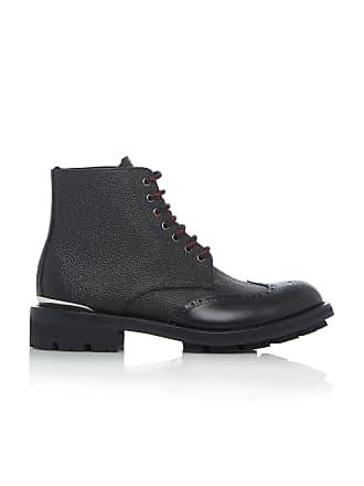 Alexander McQueen Textured Leather Brogue Boots
