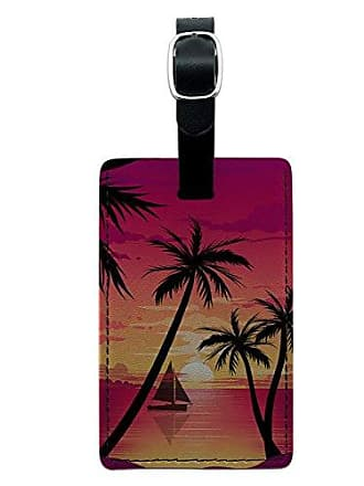 Graphics & More Graphics & More Beach Sunset-Palm Tree Sail Boat Vacation Leather Luggage Id Tag Suitcase, Black
