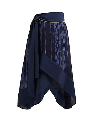 Zeus + Dione Muses Striped Jacquard Silk Blend Wrap Skirt - Womens - Navy
