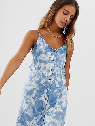 Wednesday's Girl Vestito lavaggio acido con spalline sottili e bottoni-Blu
