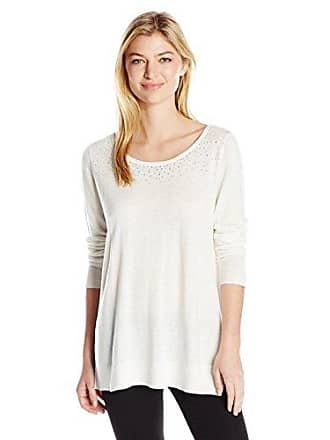 NYDJ Womens Scattered Rhinestone Sweater, Vanilla, Small