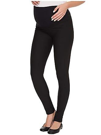 3061ddbd2c4e0f Plush Apparel Maternity Fleece-Lined Cotton Over-Belly Leggings (Black)  Womens Clothing