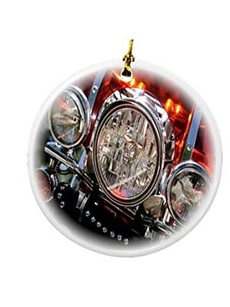 Rikki Knight Rikki Knight Motorcycle Headlights Design Round Porcelain Two-Sided Christmas Ornaments