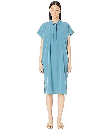 Eileen Fisher Classic Collar Short Sleeve Calf Length Dress (River) Womens Dress