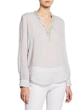 120% Lino Embellished V-Neck Long-Sleeve Tunic