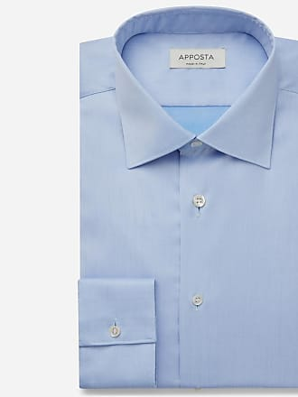 Apposta Shirt solid cyan 100% non-iron cotton twill, collar style low straight point collar