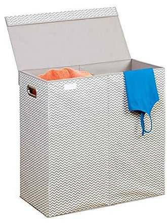 InterDesign Axis Fabric Double Folding Laundry Clothes Hamper Bin with Handles and Lid, Basket for Bedroom, College Dorm, 24 x 12 x 25, Taupe