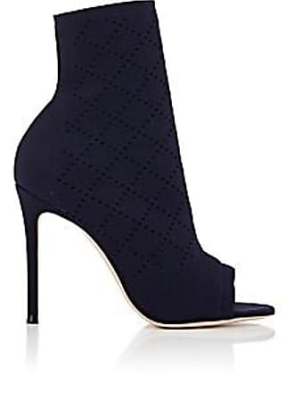 Gianvito Rossi Womens Perforated Knit Ankle Boots - Denim Size 6.5