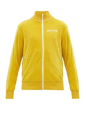 Palm Angels Logo Zip Through Cotton Blend Track Jacket - Mens - Yellow