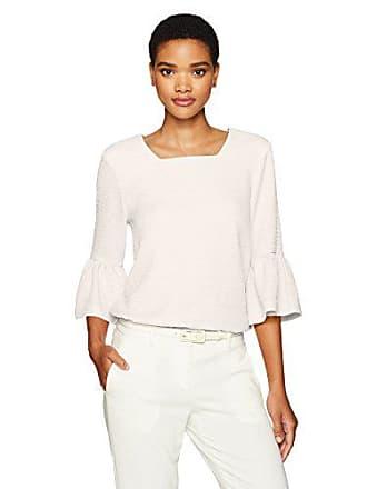 Calvin Klein Womens Texture Square Neck Flutter Sleeve Top, Soft White, M