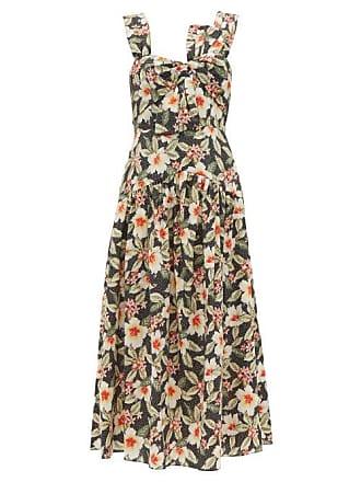 Rebecca Taylor Kamea Hibiscus Print Cotton Midi Dress - Womens - Black Multi
