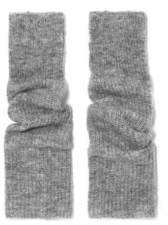 Ganni Ribbed-knit Fingerless Gloves - Gray