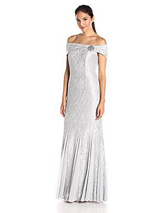 Alex Evenings Womens Long Off the Shoulder Lace Dress With Brooch, Platinum, 8