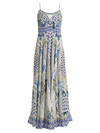 9ccd2751c5a Camilla Salvador Summer Print Tie Front Silk Dress - Womens - Blue Multi