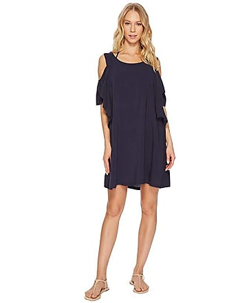 Michael Kors Geometric Glamour Solids Cold Shoulder Ruffle Dress Cover-Up (New Navy) Womens Swimwear