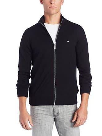J.Lindeberg Mens Kenny True Merino Full Zip Golf Sweater, Black, Large