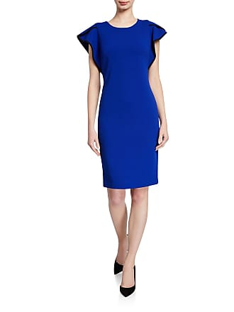 Iconic American Designer Jewel-Neck Ruffle-Sleeve Tipped Dress