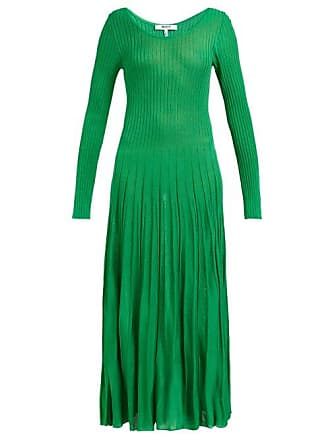 Msgm Msgm - Ribbed Knit Stretch Jersey Dress - Womens - Green