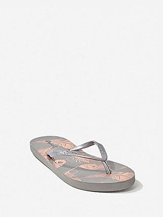 Forever 21 Forever 21 Feather Graphic Thong Flip Flops Grey/multi