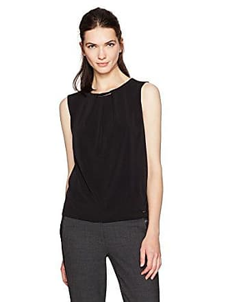 69be2cce6b86b Calvin Klein Womens Pleat Neck Top with Hardware