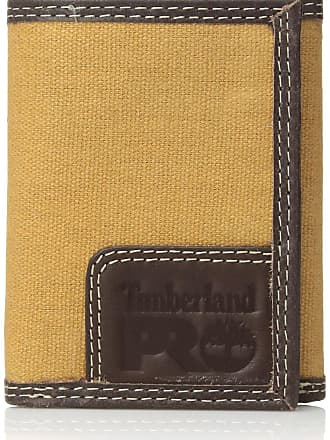 9d7ee47da8bc Timberland Timberland PRO Mens Canvas Leather Trifold Wallet with Back ID  Window