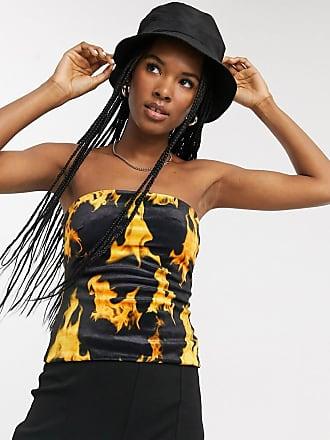 Weekday Schwarzes Röhrentop aus Samt mit Flammendruck-Mehrfarbig