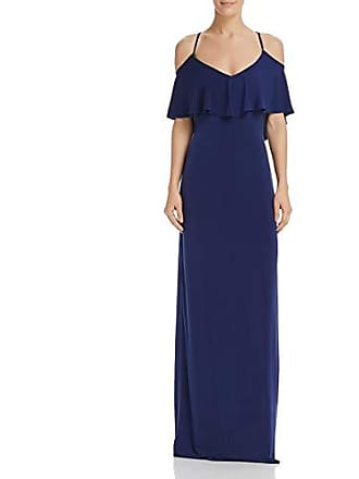 Shelli Segal Womens Cold Shoulder Fl pop Jersey Gown with Deep V-Bk & St Tie Dt, Midnight 6