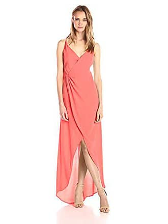 0e8df652868 ASTR the Label Womens Penelope Wrap Maxi Dress, Hot Coral, X-Small