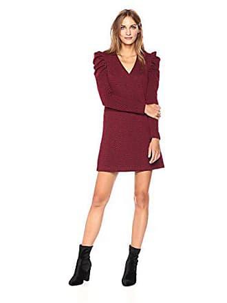 Donna Morgan Womens V-nk Shift Dress with Puff Sleeve, Wine Burgundy, 10