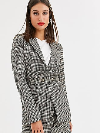 Y.A.S. Tall Silla long sleeve check blazer co-ord-Brown