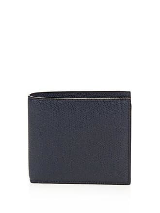 Valextra Bi Fold Grained Leather Wallet - Mens - Navy