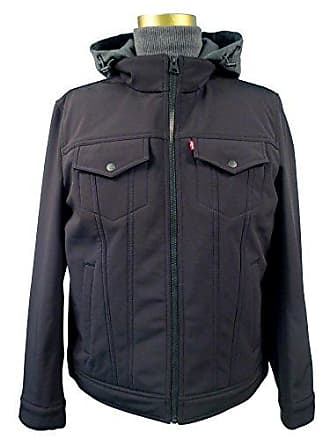 Levi's Mens Soft Shell/ Stand Collar Hooded Trucker Jacket, Black, X-LARGE