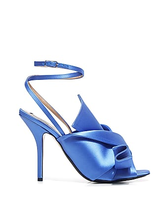N°21 Pointed-Toe Knot Satin Ankle Strap Heeled Sandals Blue