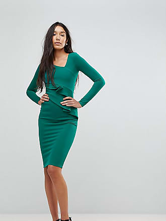 8a76cc20 City Goddess Tall Long Sleeve Pencil Dress With Ruched Detail - Green
