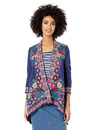 Johnny Was Womens 3/4 Sleeve Knit Draped Cardigan with Embroidery, Navy L