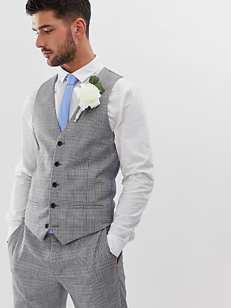 18219728d11c River Island Bröllop - Grårutig kostymväst med smal passform - Grå