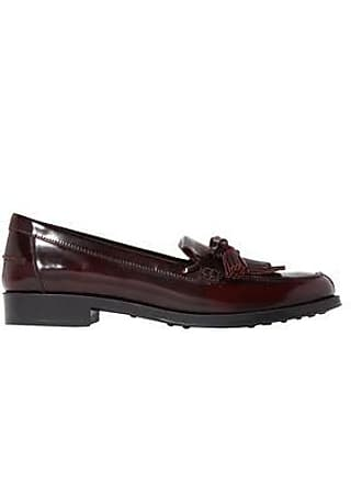 e582a4b3d3 Tod's Tods Woman Fringe-trimmed Glossed-leather Mocassins Merlot Size 41.5