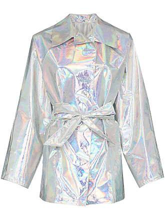 Kassl Editions Trench coat holográfico com amarração - Metálico