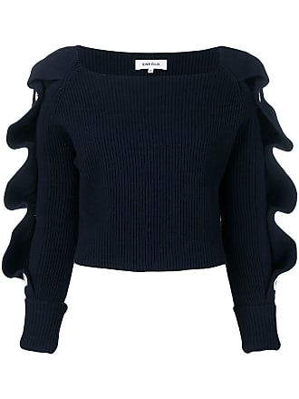 Enfold cropped ruffled sweater - Blue