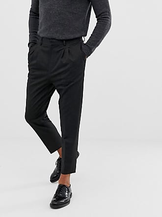 Asos tapered smart pants in gray cross hatch with pleats - Gray