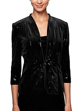 Alex Evenings Womens Jacket and Scoop Tank Top Velvet Twinset Petite Regular, Black Sequin, S