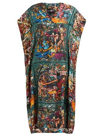 Edward Crutchley Tapestry Print Silk Dress - Womens - Brown Multi