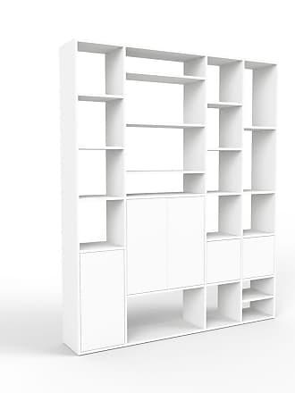 MYCS Bibliotheksregal Weiß - Individuelles Regal für Bibliothek: Türen in Weiß - 193 x 233 x 35 cm, konfigurierbar
