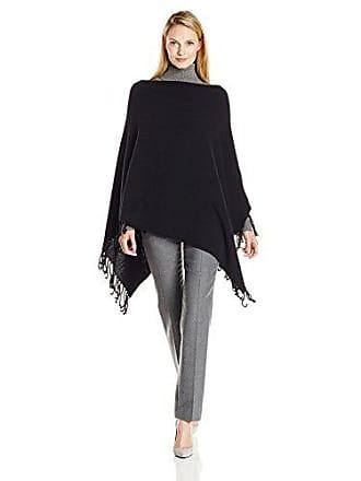 Joan Vass Womens Fringed Rib Poncho, Black, One Size