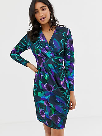 fad3e57b110f2c Closet Closet Cross Over Purple Print Dress