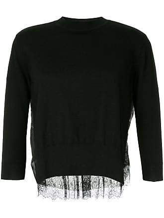Onefifteen Suéter de cashmere com recorte de renda - Preto